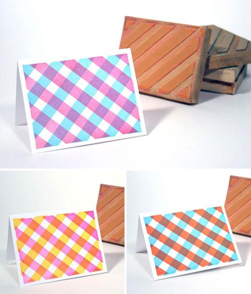 Letterpress Gingham Note Cards