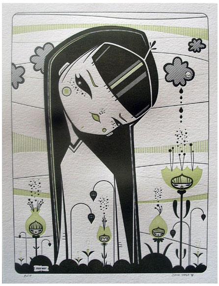 Julie West Letterpress Print Flower Friends