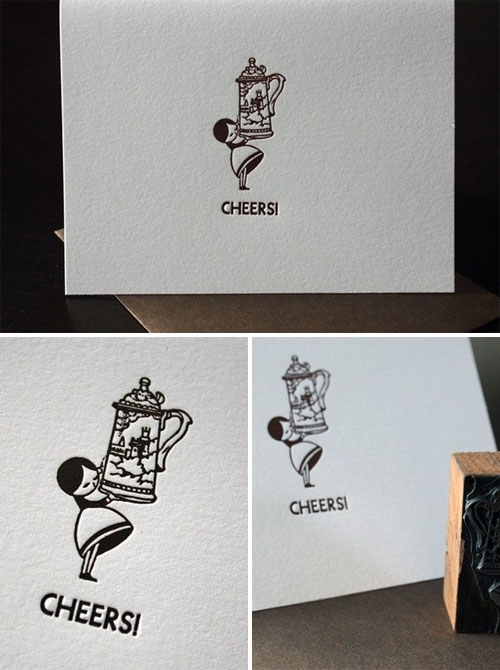 Penelope's Press Beer Stein Girl Letterpress Card