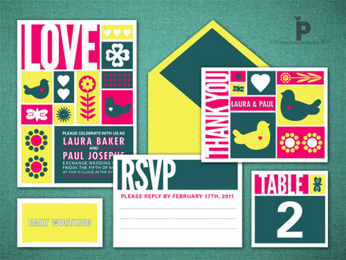 Colorful Printable Wedding Invitations