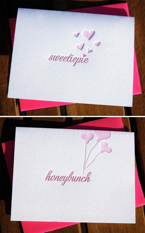 Sweetiepie Honeybunch Letterpress Cards
