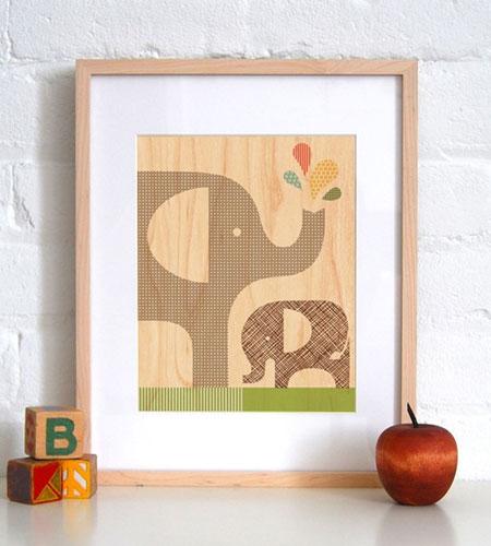 Elephant Wood Veneer Art Print