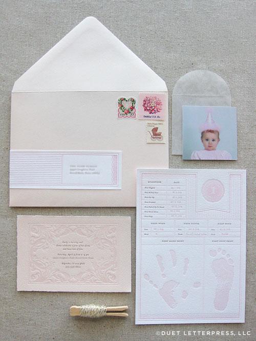 Pink Letterpress First Birthday Invitations