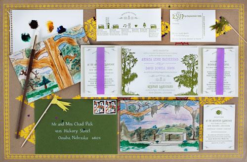 Jazzy Watercolor Letterpress Wedding Invites