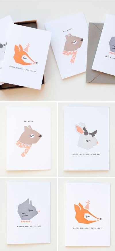 MaeMae Animal Letterpress Cards
