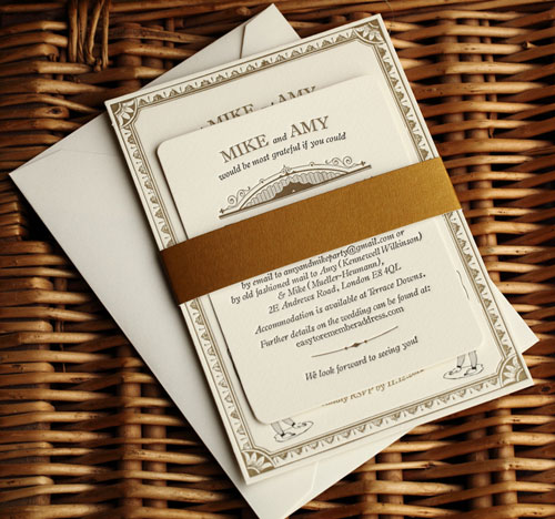 Black Gold Acrobat Letterpress Wedding Invitations