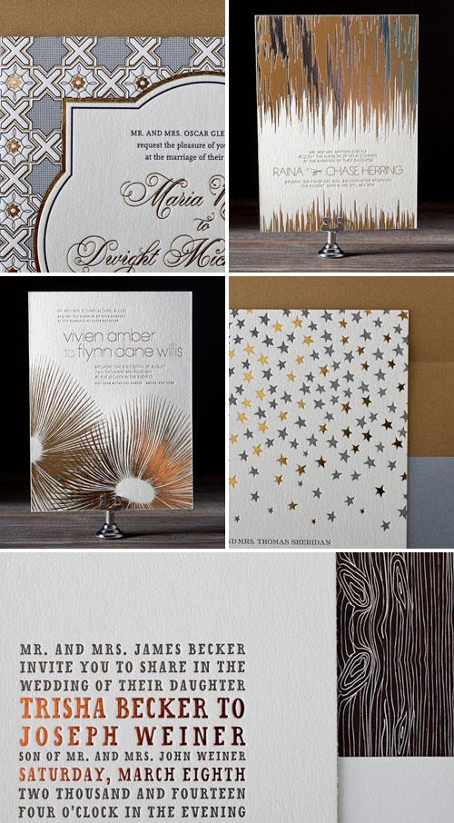 Metallic Foil Stamped Wedding Invitations