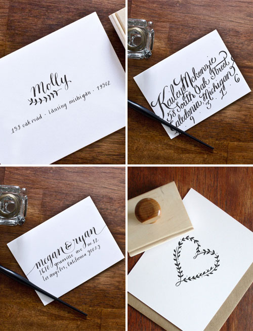 Custom Envelope Calligraphy + Rubber Stamps