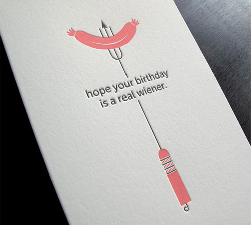 Hot Dog Letterpress Birthday Card