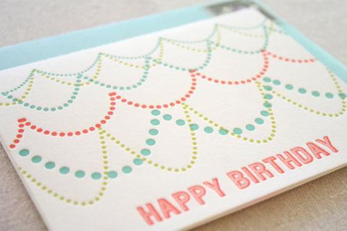 Letterpress Happy Birthday Card