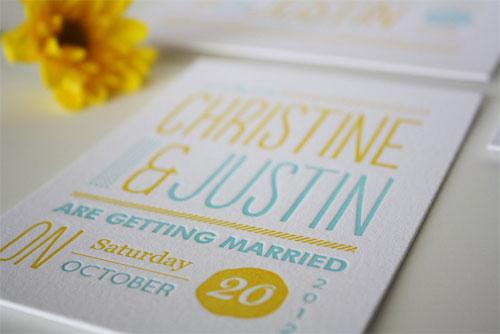 Whimsical Typographic Wedding Invitations