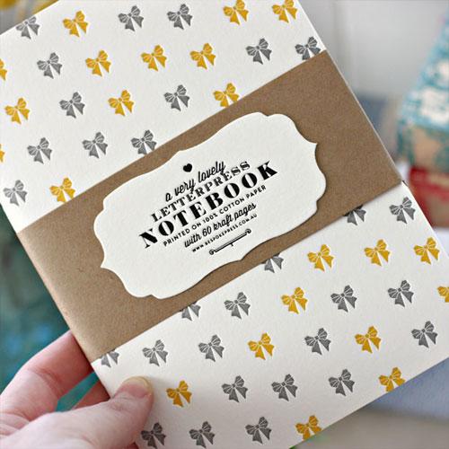 Bespoke Bows Letterpress Patterned Notebook
