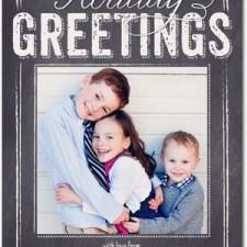Holly Blackboard Holiday Photo Cards