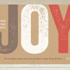 Joy Impressed Business Holiday Cards