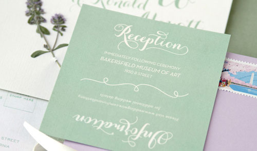Soft Green and Lavender Wedding Invitations