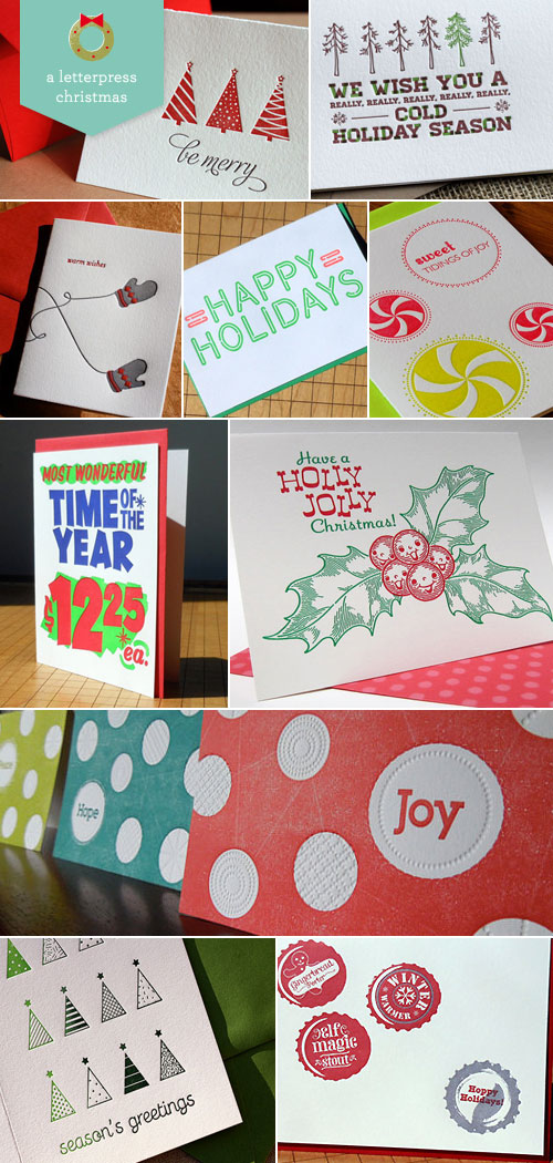 Letterpress Christmas Card Designs