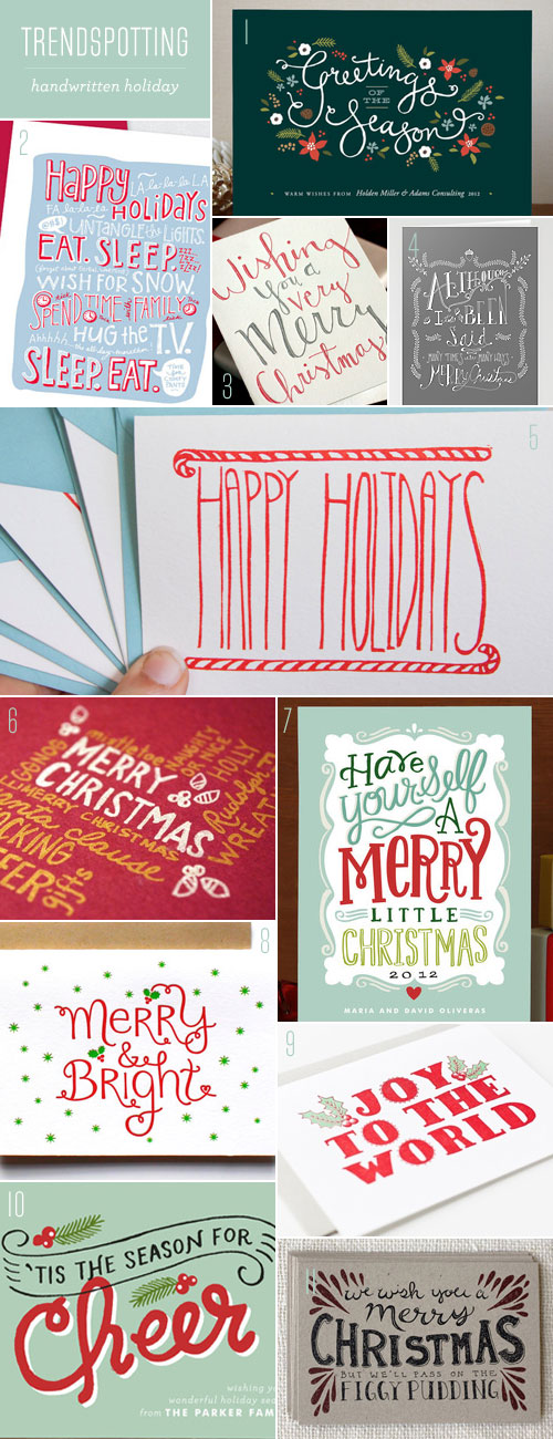 Trendspotting : Handwritten Holiday as seen on papercrave.com