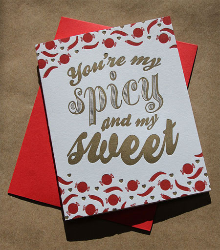 Spicy and Sweet Letterpress Card