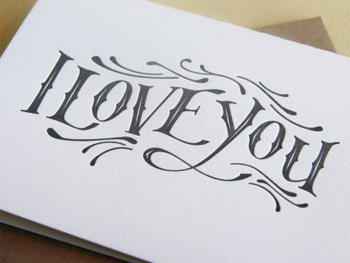 I Love You Letterpress Card by Steel Petal Press