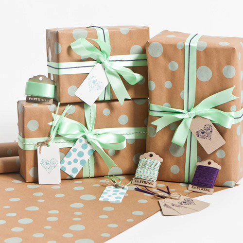 Mint Dotty Gift Wrap | Sophia Victoria Joy