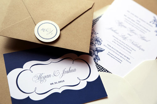 Classic Elegant Navy Blue + White Floral Wedding Invitations | Half His Half Hers
