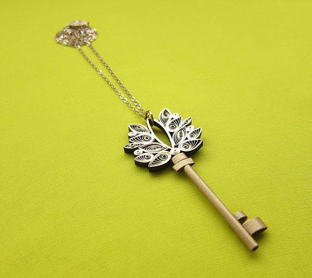 Quilled Antique Key by Ann Martin
