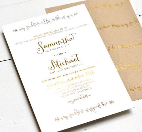 sparrow gold foil stamped wedding invitations  paper crave, invitation samples