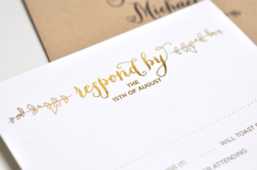 Sparrow Gold Foil Stamped Response Card | Smitten on Paper