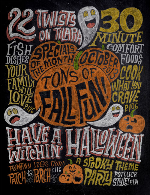 Halloween Chalkboard Illustration | Chris Piascik for Rachael Ray Magazine