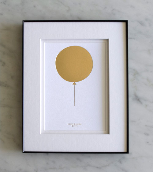Bling Balloon Gold Foil Debossed Print | Honey & Bloom