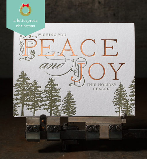 Peace and Joy Letterpress Holiday Card | Boxcar Press