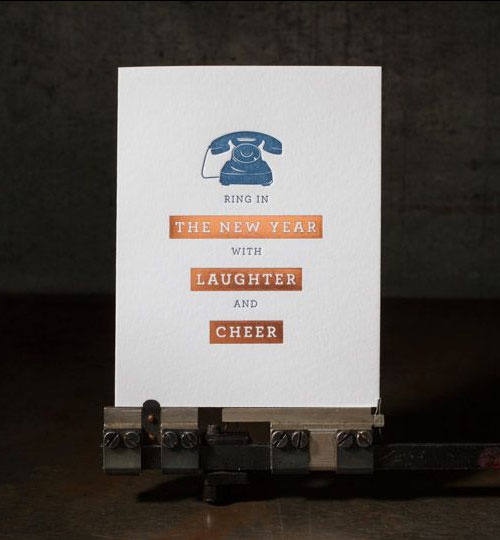 New Year Cheer Holiday Letterpress Card | Boxcar Press