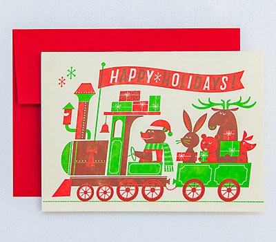 Christmas Train Letterpress Christmas Cards | Esther Aarts for Hello! Lucky