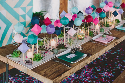 DIY Geometric Table Runner | Sarah Park (photo credit : Lauren Fair Photography)