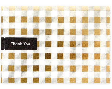 Tartan Gold Foil Stamped Thank You Card | Pei Design