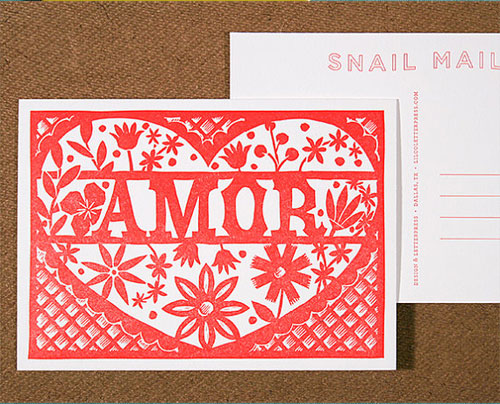 Amor Linocut Letterpress Postcard   Lilco