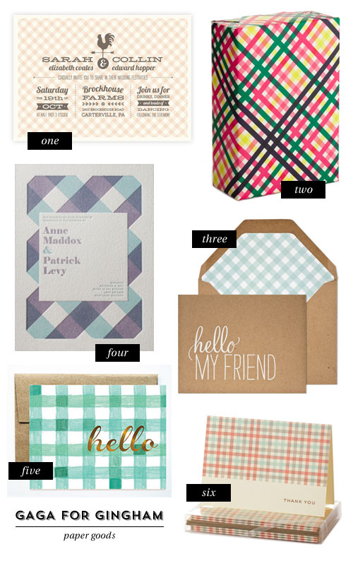 Gaga for Gingham Paper Goods as seen on papercrave.com