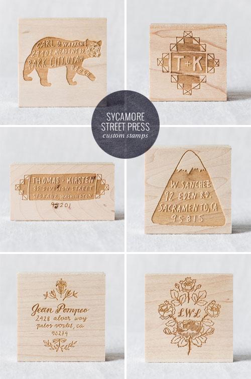 Custom, Hand Drawn Monogram and Return Address Rubber Stamps | Sycamore Street Press