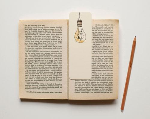 Vintage Light Bulb Illustrated Bookmark | An April Idea
