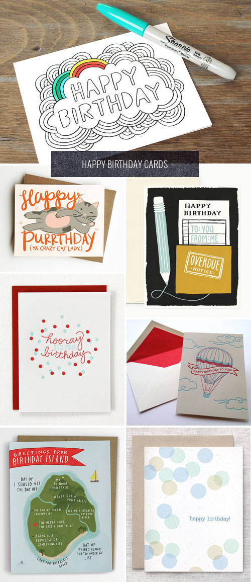 Fun, Modern Happy Birthday Cards as seen on papercrave.com