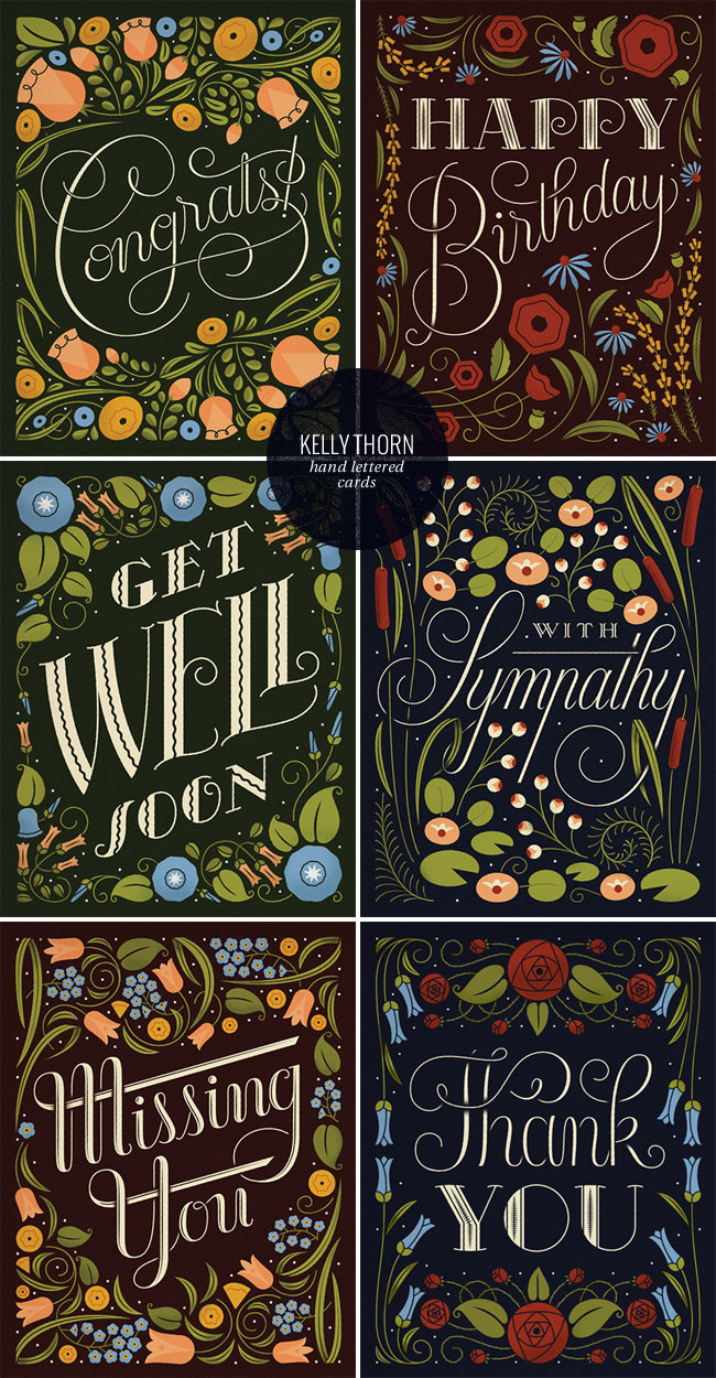 Hand Lettered & Illustrated Card Collection | Kelly Thorn for enormouschampion