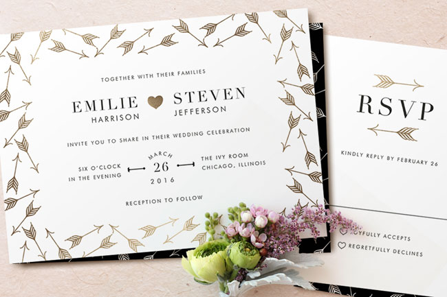 Modern, Gold Foil Pressed Wedding Stationery | Minted