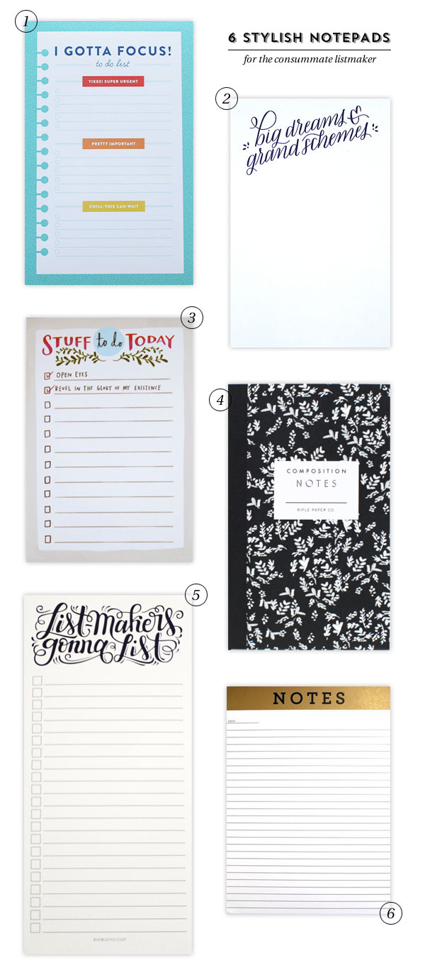 6 Stylish Notepads for the Consummate Listmaker as seen on papercrave.com