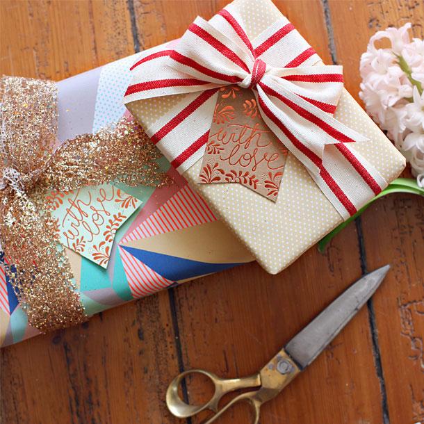 Lemon Dots & Neon Triangles Gift Wrap   Bespoke Letterpress