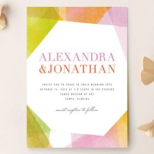 Geometric Watercolor Wedding Invitations by Citrus Press Co.