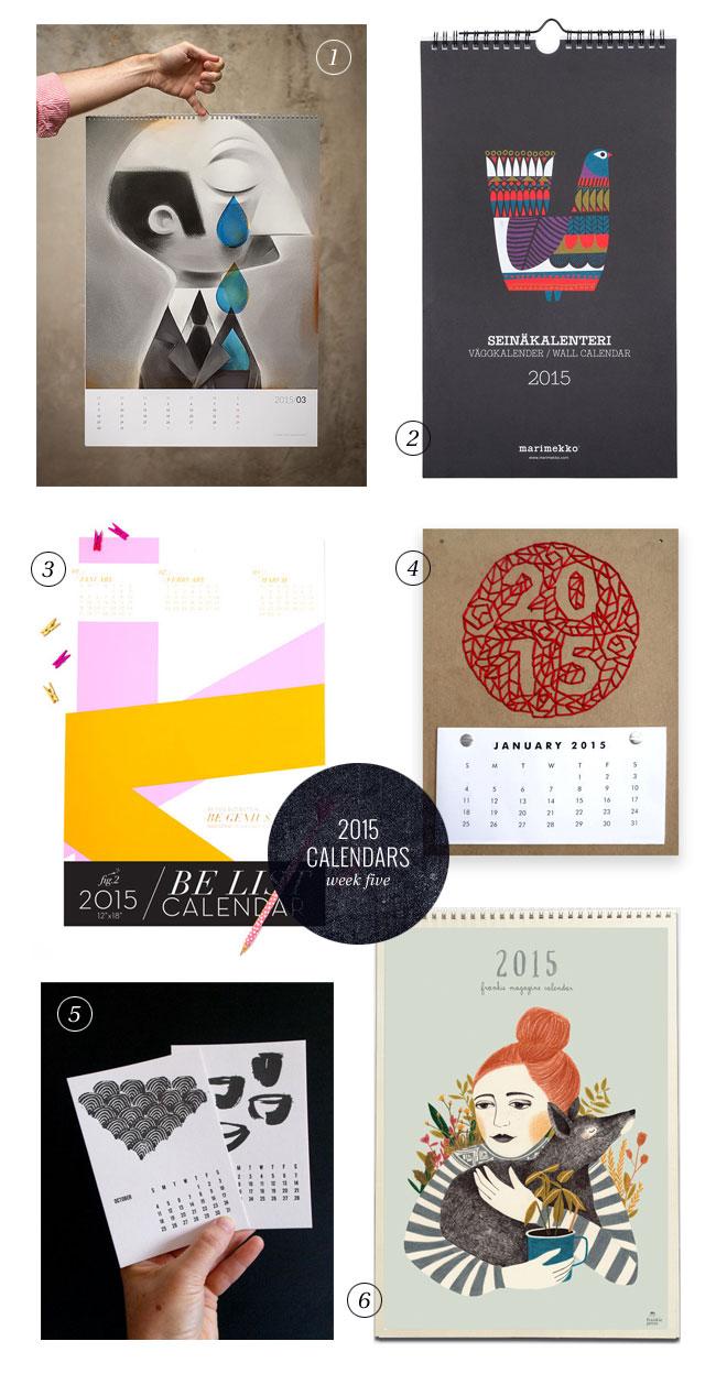 2015 Calendars, Week Five