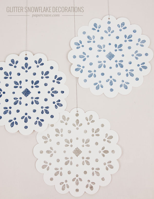 DIY Stenciled Glitter Snowflake Decorations | Paper Crave