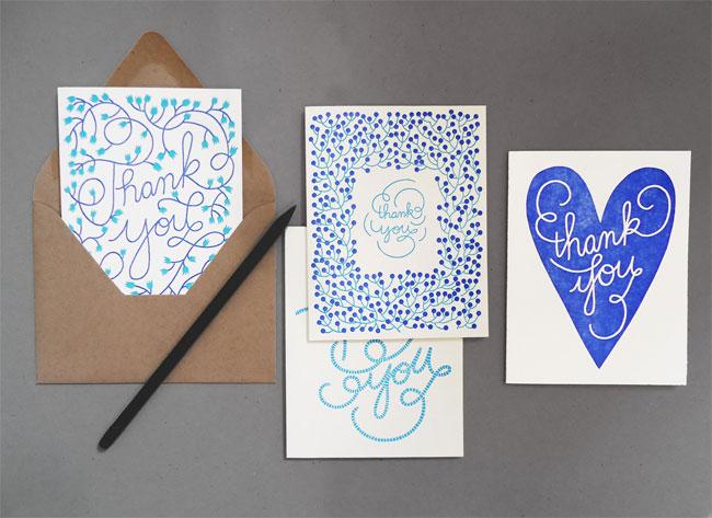 Cobalt Blue & Teal Letterpress Thank You Cards | Karolin Schnoor