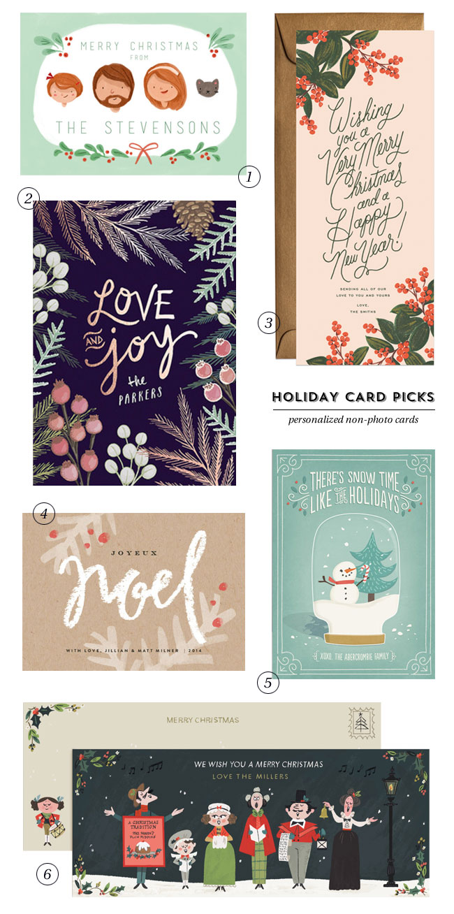 Holiday Card Picks : Personalized Non-Photo Cards