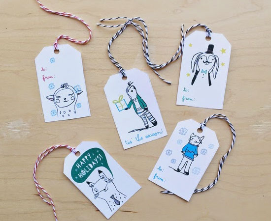 Free Printable Illustrated Gift Tags by Blabla Kids